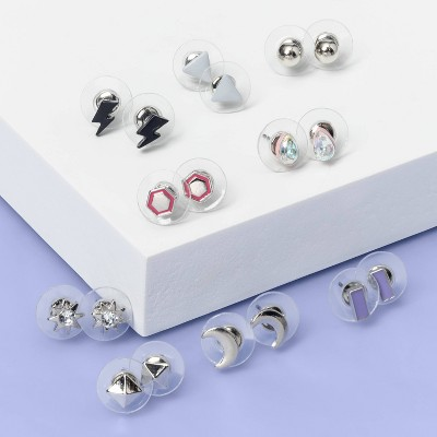 Girls' 8pk Stars and Triangle Earrings - More Than Magic™