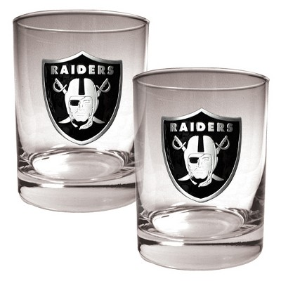NFL 2pk Metal Emblem Rocks Glass Set