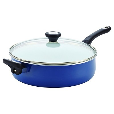 Farberware PURECOOK Ceramic Nonstick Cookware 5Qt Covered Jumbo Cooker with Helper Handle - Blue