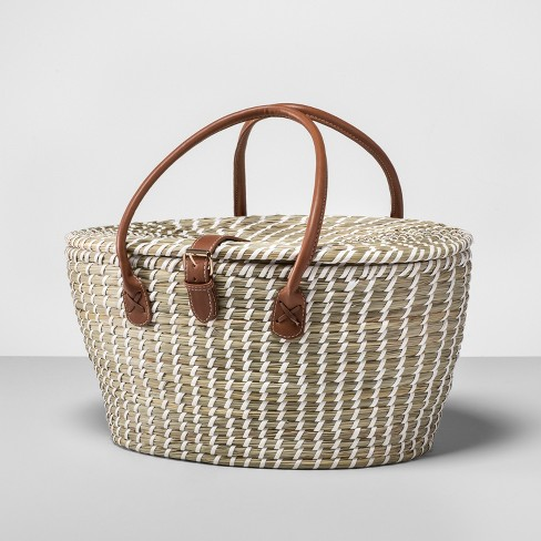 12pc woven picnic basket set brown white opalhouse target