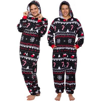FUNZIEZ! - Holiday Candy Cane Print Slim Fit Adult Unisex Novelty Union Suit