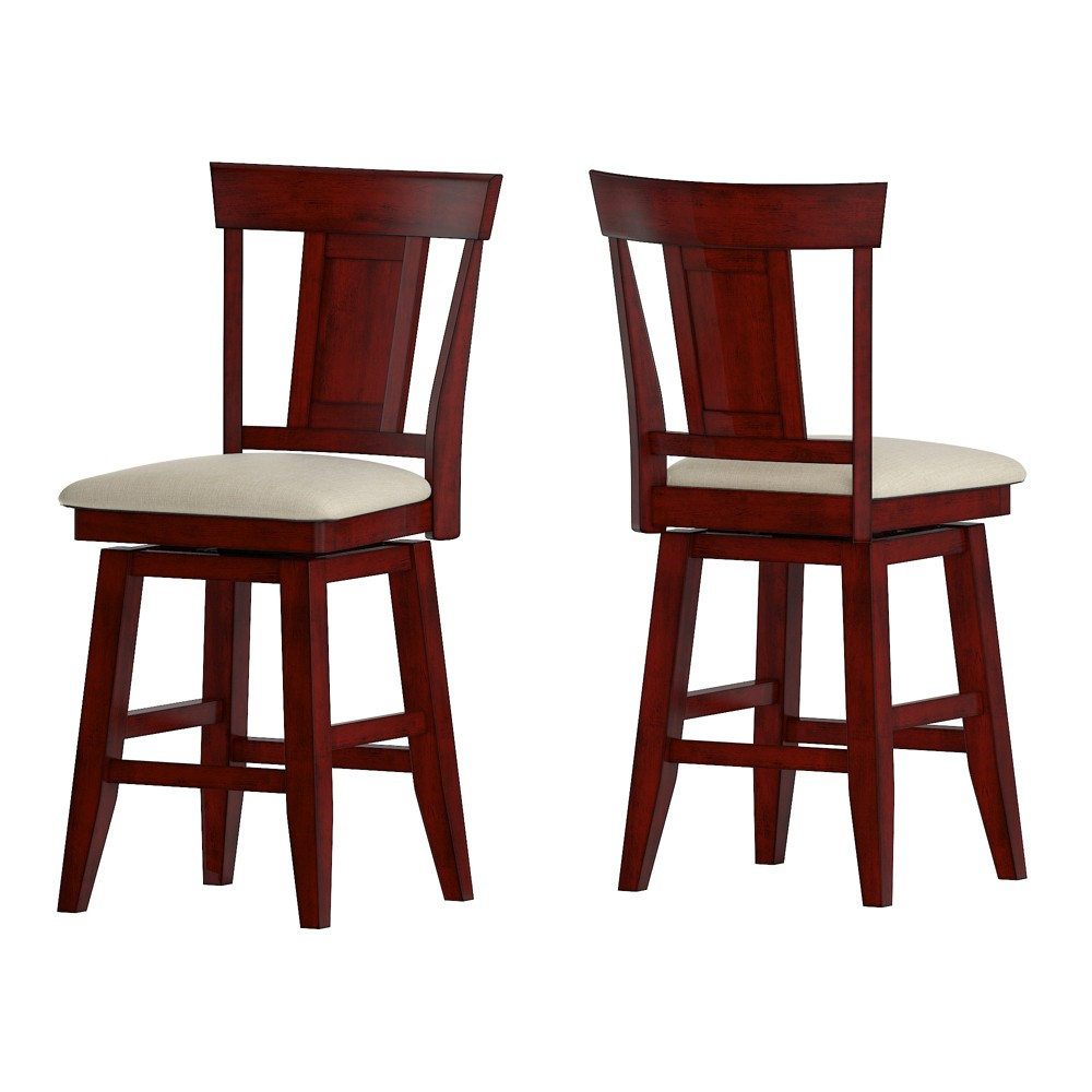 24 South Hill Panel Back Swivel Counter Height Chair Red - Inspire Q