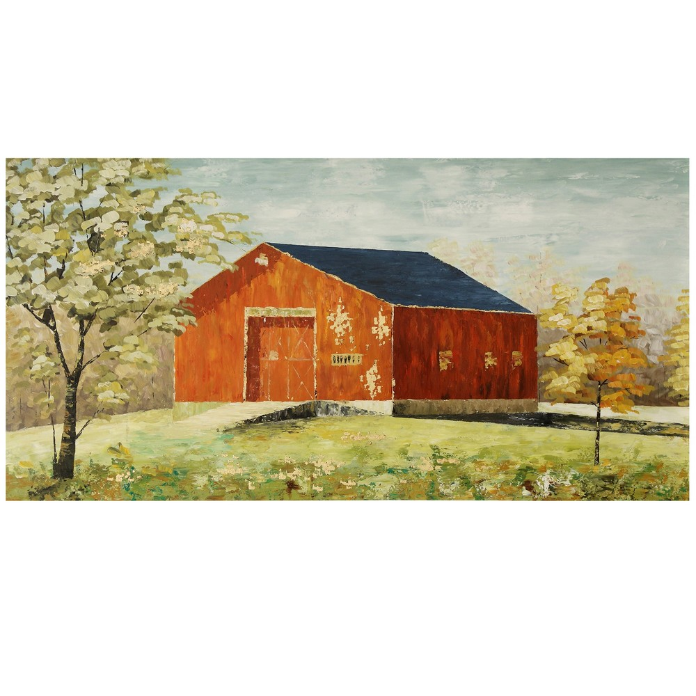 60 Textured Barn House Hand Painted Stretched Canvas Decorative Wall Art - StyleCraft, Multi-Colored