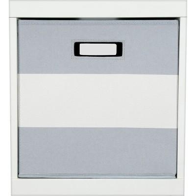 Fabric Cube Toy Storage Bin Gray Stripe - Pillowfort™