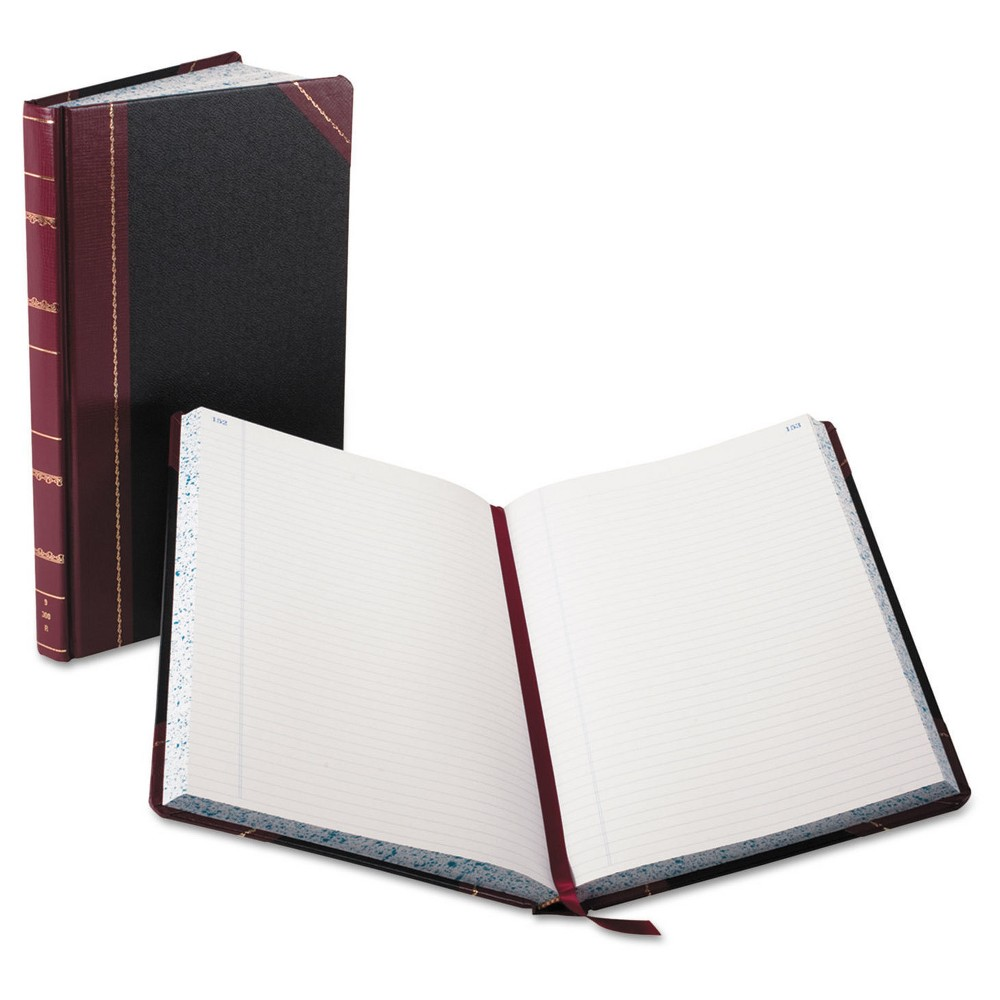 """Image of """"Boorum & Pease Record/Account Composition Book, Record Rule, 300 Pages, 14 1/8"""""""" x 8 5/8"""""""" - Black/Red"""""""