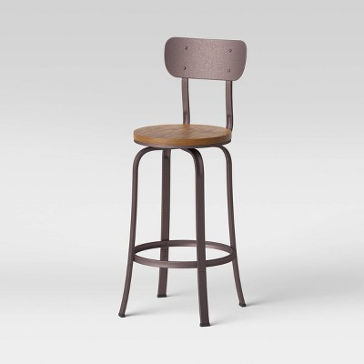 Dakota Swivel Wood Seat Barstool with Adjustable Legs Metal - Threshold™