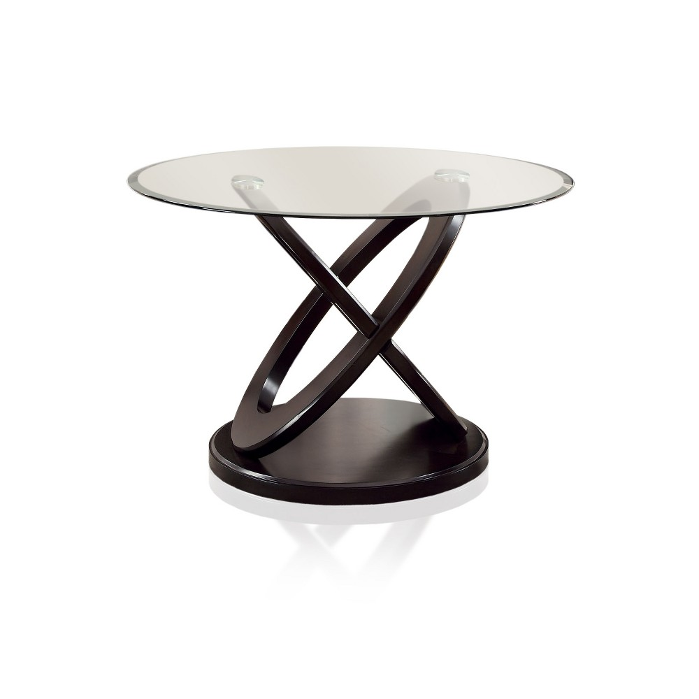 ioHomes X-Crossed Base Glass Table Top Dining Table Wood/Dark Walnut