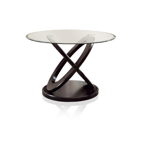 Iohomes X Crossed Base Glass Table Top Dining Table Wooddark Walnut