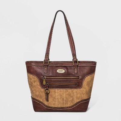Bolo Multi Snap Zip Closure Tote Handbag - Brown