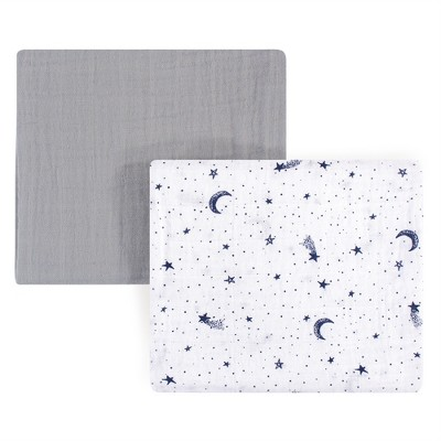 Yoga Sprout Baby Boy Cotton Muslin Swaddle Blankets, Moon, One Size