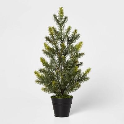 Large Greenery Christmas Tree in Black Bucket Decorative Figurine Green - Wondershop™