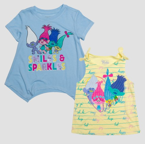 Toddler Girls' Trolls Good Vibes & Love Short Sleeve T-Shirt and Tank Set - Blue - image 1 of 5