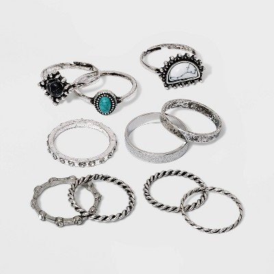 Brushed Silver with Faux Semi-Precious Stones Ring Set 10pc - Wild Fable™ Silver