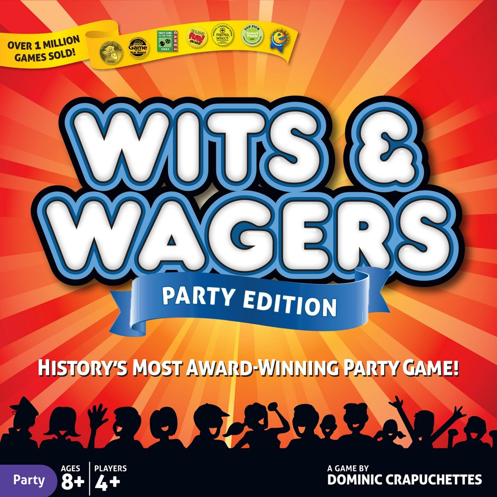 """Wits & Wagers Party Edition Game Wits and Wagers is history's most award-winning party game with over 1 million copies sold. So why does everyone love Wits and Wagers? Because you don't need to know the answers to win! The excitement is betting on the best guess. First, everyone writes down a guess to a fun question like """"What percent of bank robberies are committed by women?"""" Then players bet on which guess is closest to the right answer. As the bets starting paying out, Wits and Wagers Party Edition is sure to get any group cheering and laughing in no time! Gender: Unisex."""