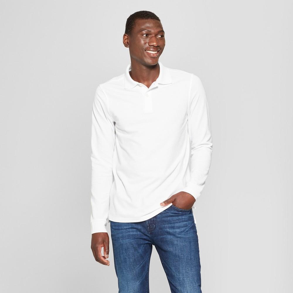 Men's Standard Fit Long Sleeve Pique Polo Shirt - Goodfellow & Co True White Opaque L
