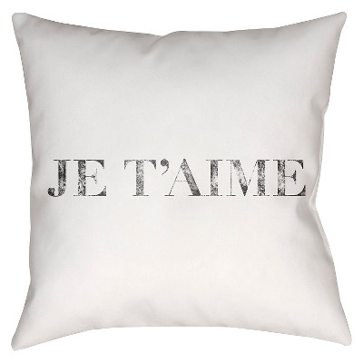 White Je T'aime Throw Pillow 20 x20  - Surya