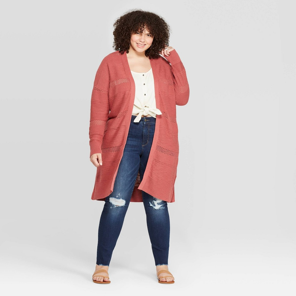 Best Buy Women Plus Size Long Sleeve Duster Open Layered Cardigan Universal Thread Red 3X