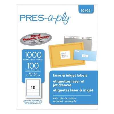 PRES-a-ply Permanent-Adhesive Shipping Labels For Laser and Inkjet Printers, 2 x 4 Inches, White, Box of 1000