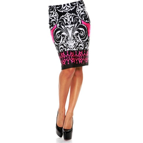 Women's Feather Printed Pencil Skirt - White Mark - image 1 of 3