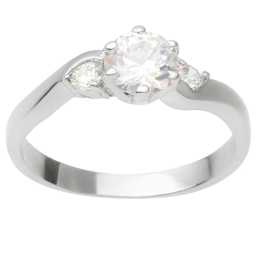 1 1/10 CT. T.W. Round-cut Cubic Zirconia Bridal Prong Set Ring in Sterling Silver - Silver, 6, Girl's