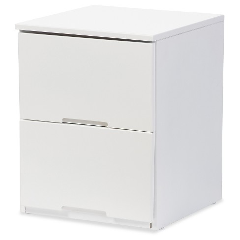 Washington Modern And Contemporary Wood 2-Drawer Nightstand Bedside Table - White - Baxton Studio - image 1 of 4