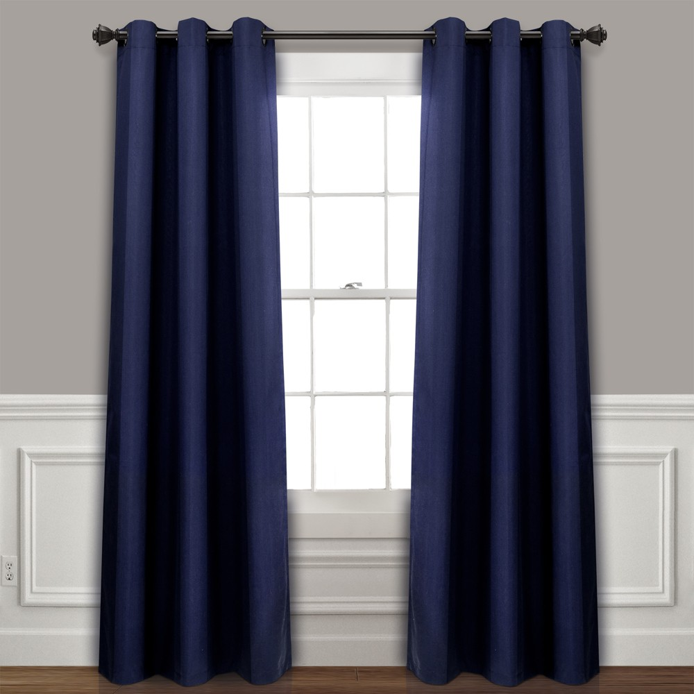 Set of 2 (95x38) Absolute Blackout Window Curtain Panels Navy - Lush Décor Price