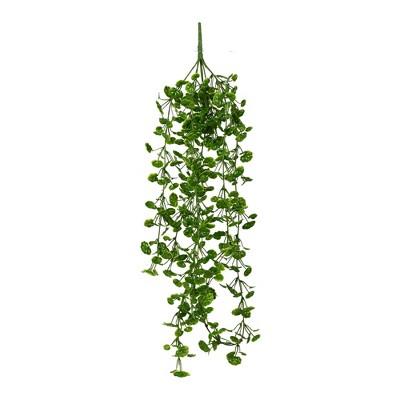 """Vickerman 34"""" Artificial Green Begonia Leaf Hanging Bush, Set of 3"""
