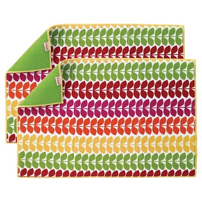 Berry Medallion Kitchen Drying Mat 2pk (14 x21 )T-Fal