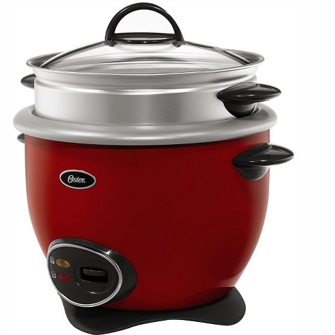 Oster CKSTRCMS14RNP Home Kitchen 14 Cup Capacity Non Stick Small Kitchen Appliance Countertop Rice Cooker with Veggie Steam Tray, Red - image 1 of 3