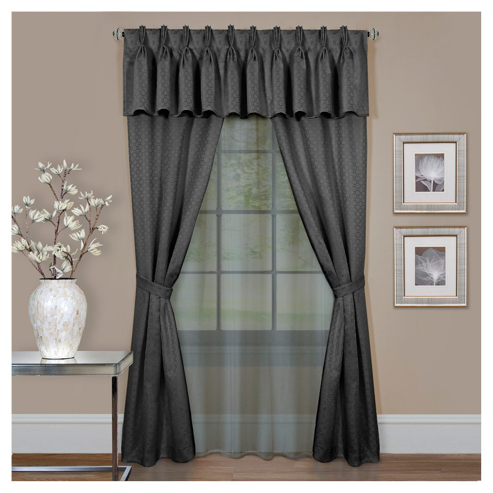 Claire 6 Pc Window Valence and Curtain Set Charcoal Heather (55