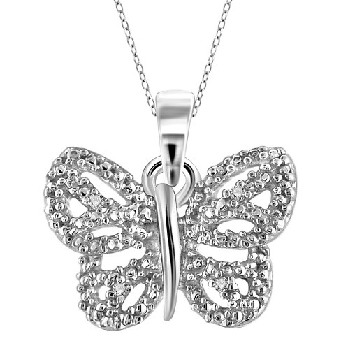 "Women's Sterling Silver Accent Round-Cut White Diamond Pave Set Butterfly Pendant (18"") - image 1 of 2"