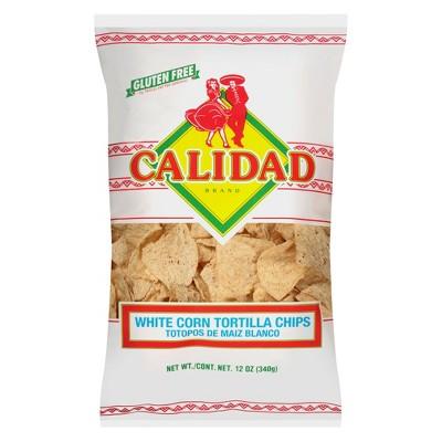 Calidad White Corn Tortilla Chips -12oz