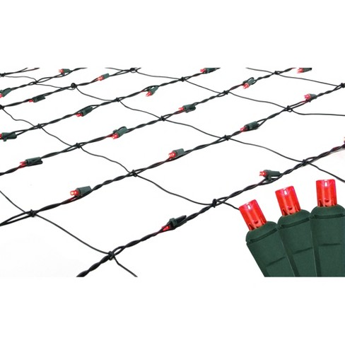 Northlight 150ct Wide Angle LED Net Lights Red - 4' x 6' Green Wire - image 1 of 3