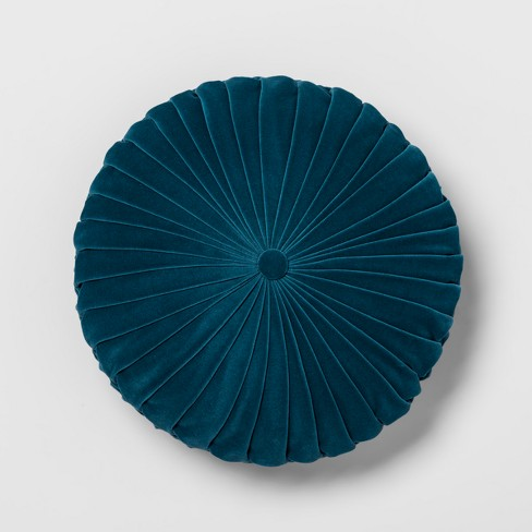 Teal Pleated Velvet Round Throw Pillow - Opalhouse™ - image 1 of 4