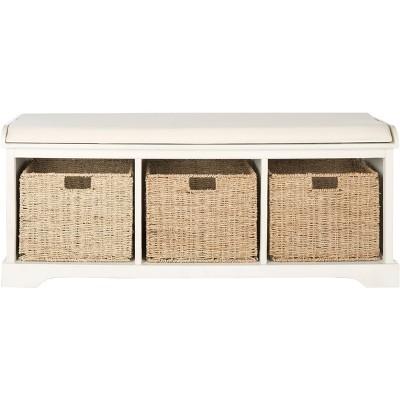 Lonan Wicker Storage Bench  - Safavieh