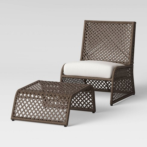 2pc Byler Woven Patio Chair Ottoman, Patio Chairs With Ottoman