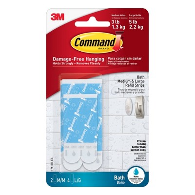Command 2 Medium 4 Large Sized Water Resistant Replacement Strips White