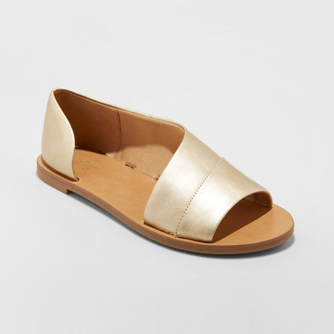 Women's Lissa Wide Width Asymmetrical Slide Sandals - Universal Thread™ Gold 9W - image 1 of 3