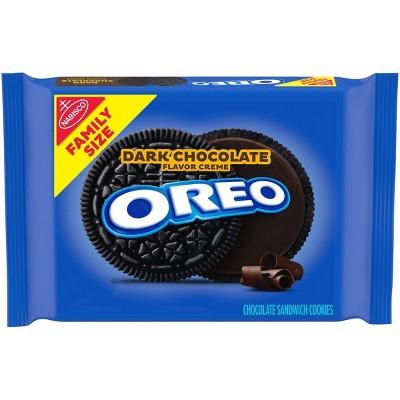 Oreo Dark Chocolate Flavor Creme Chocolate Sandwich Cookies Family Size - 17oz