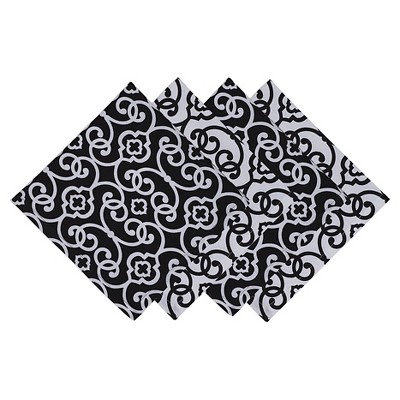 Black Scroll Printed Napkin (Set Of 4)- Design Imports