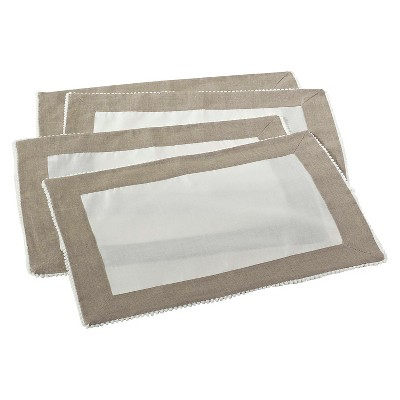 Two Tone Placemats with Knotted Border Ivory (Set of 4)