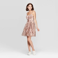 Women's Snake Skin Print Sleeveless Scoop Neck Shine Bra Cup Mini Dress - Xhilaration™ Blush