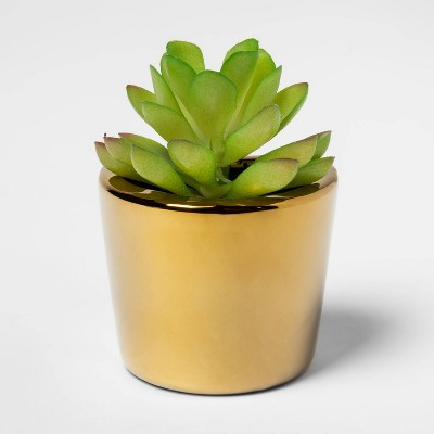 """3.2"""" x 3"""" Artificial Succulent in Magnetic Gold Pot - Project 62™"""