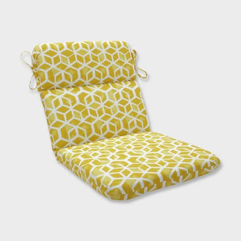Celtic Pineapple Rounded Corners Outdoor Chair Cushion Yellow - Pillow Perfect - image 1 of 1