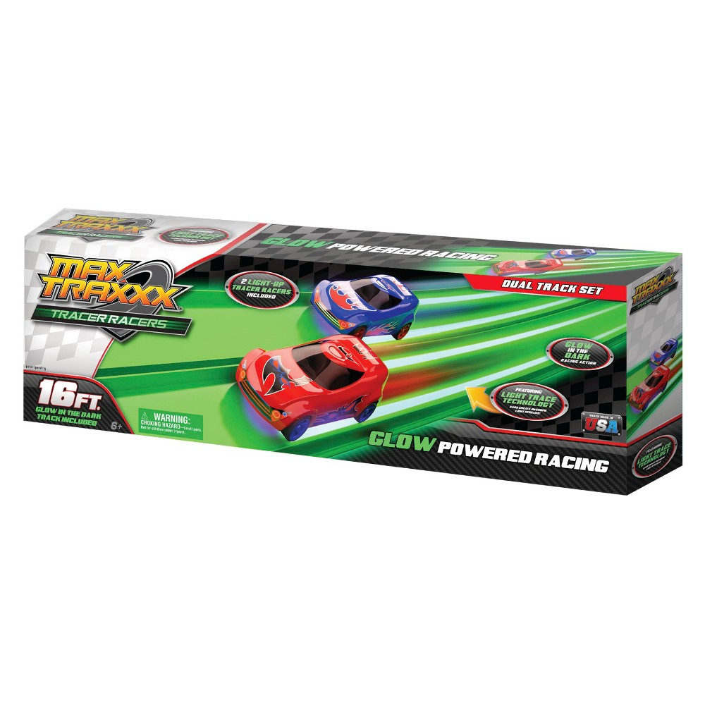 Max Traxxx 16' Tracer Racer Glow-In-The-Dark Duel Track Race Set - 2 Cars