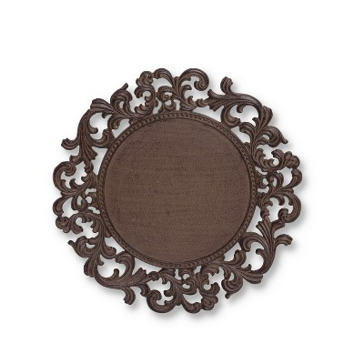 GG Collection 14-Inch Diameter Acanthus Leaf Ornate Brown Metal Chargers (Set of 4)