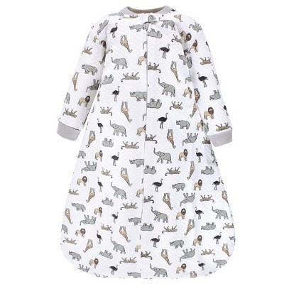 Hudson Baby Infant Premium Quilted Long Sleeve Sleeping Bag and Wearable Blanket, Neutral Safari
