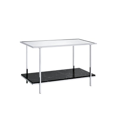 Angwin Console Table Mirrored Faux Marble/Chrome - Acme Furniture