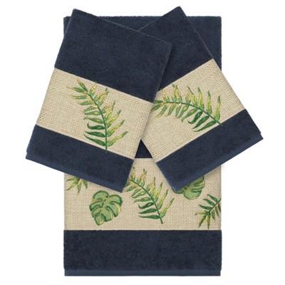 Zoe Embellished Bath Towel Set Midnight Blue - Linum Home Textiles
