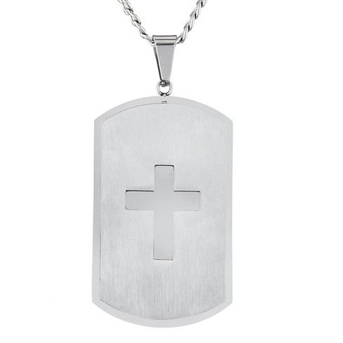Men's West Coast Jewelry Stainless Steel Laser Cut Cross Dual Finish Dog Tag Pendant - image 1 of 2